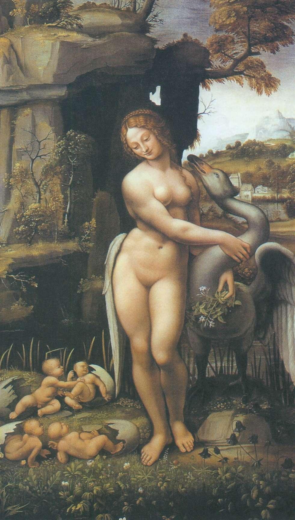 Картинки по запросу «Леда и Лебедь» Леонардо да Винчи, около 1508 г.